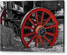 Red Wagon Wheel Acrylic Print by Jack Zulli