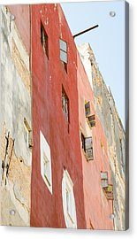 Red Wall In Havana Cuba Acrylic Print