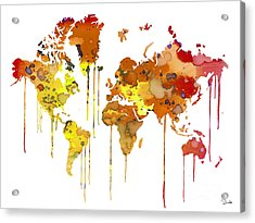 Red Watercolor Map Acrylic Print by Luke and Slavi
