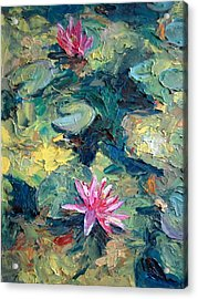 Acrylic Print featuring the painting Red Waterlily  by Jieming Wang