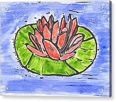 Red Waterlily Acrylic Print by Lynn-Marie Gildersleeve