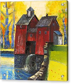 Red Watermill Acrylic Print