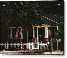 Acrylic Print featuring the photograph Red White And Blue Cottage by Laura Ragland