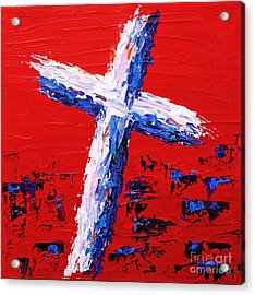 Red White And Blue Cross Acrylic Print by Pattie Calfy