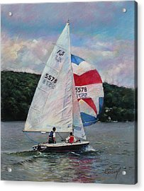 Red White And Blue Sailboat Acrylic Print by Viola El