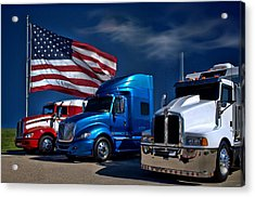 Red White And Blue Semi Trucks Acrylic Print by Tim McCullough