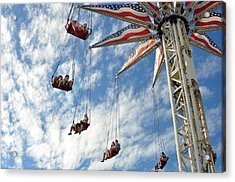 Red White And Blue Swings At Coney Island Acrylic Print