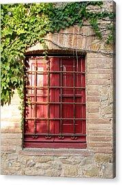 Red Window Acrylic Print by Carolyn Waissman
