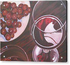 Red Wine And Grapes Acrylic Print by Elisabeth Olver