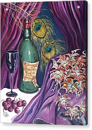 Red Wine And Peacock Feathers Acrylic Print by Caroline Street