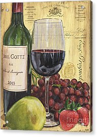 Red Wine And Pear Acrylic Print by Debbie DeWitt