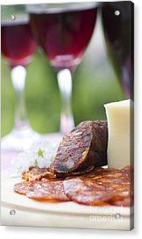 Red Wine And Sausage With Cheese Acrylic Print by Mythja  Photography