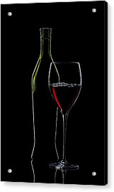 Red Wine Bottle And Wineglass Silhouette Acrylic Print by Alex Sukonkin