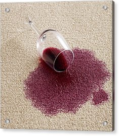 Red Wine On Carpet Acrylic Print by Science Photo Library