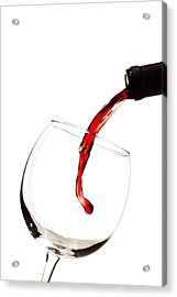 Red Wine Poured Into Wineglass Acrylic Print
