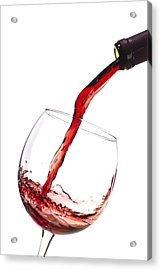 Red Wine Pouring Into Wineglass Splash Acrylic Print by Dustin K Ryan
