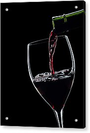 Red Wine Pouring Into Wineglass Splash Silhouette Acrylic Print by Alex Sukonkin