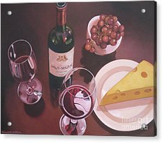 Red Wine Still Life I Acrylic Print by Elisabeth Olver