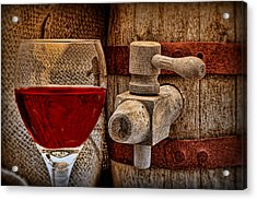 Red Wine With Tapped Keg Acrylic Print