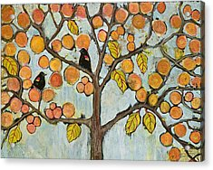 Red Winged Black Birds In A Tree Acrylic Print by Blenda Studio