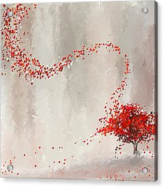 Red Winter Acrylic Print by Lourry Legarde