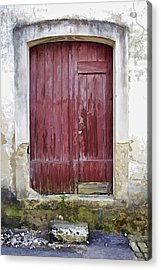 Red Wood Door Of The Medieval Village Of Pombal Acrylic Print by David Letts