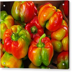 Red-yellow-green Peppers Acrylic Print by John Ayo