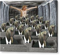 Redemption On The Cube Farm Acrylic Print by Keith Dillon