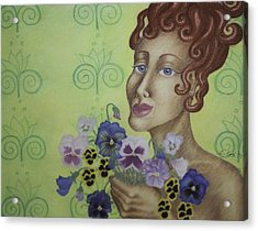 Redhead Holding Pansies Acrylic Print by Claudia Cox