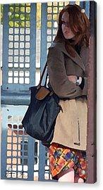 Redhead On Brown Line Acrylic Print by Shawn Lyte