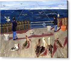 Redondo Beach Pelicans Acrylic Print