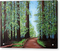 Acrylic Print featuring the painting Redwood Forest Path by Penny Birch-Williams