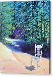 Acrylic Print featuring the painting Redwood Path And White Chair by Asha Carolyn Young