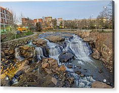 Reedy Falls At Dusk In Downtown Greenville Sc Acrylic Print