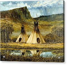 Reflected Tipis Acrylic Print by Steve Spencer