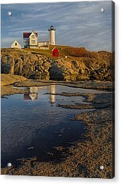 Reflecting On Nubble Lighthouse Acrylic Print by Susan Candelario