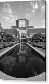 Reflecting Pond Outside Of Oklahoma Memorial Stadium Acrylic Print by Nathan Hillis