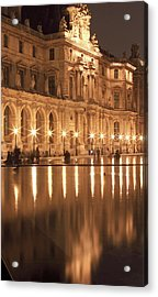 Reflecting Pool At The Louvre, Paris Acrylic Print by William Sutton