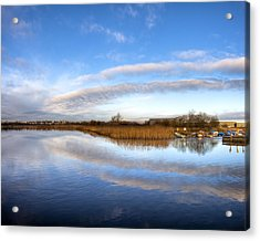 Reflecting Skies On The River Corrib In Galway Acrylic Print by Mark E Tisdale
