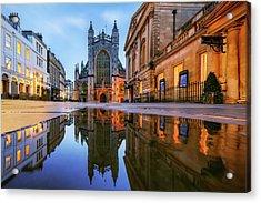 Reflection, Bath Abbey, Roman Baths Acrylic Print by Joe Daniel Price