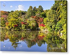 Reflection In Kyoyochi Pond In Autumn Ryoan-ji Kyoto Acrylic Print by Colin and Linda McKie