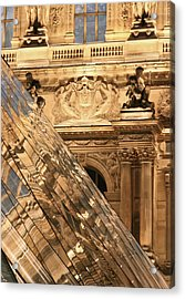 Reflection In The Pyramide Du Louvre Acrylic Print by William Sutton