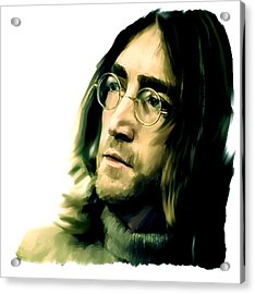 Reflection John Lennon Acrylic Print by Iconic Images Art Gallery David Pucciarelli