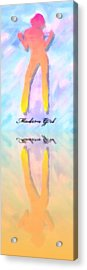 Reflection Of A Modern Girl In Abstract Oil Acrylic Print by Tommytechno Sweden