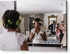 Reflection Of Bride Applying Lipstick While Standing In Front Of Mirror Acrylic Print by Adriana Duduleanu / EyeEm