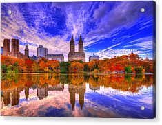 Reflection Of City Acrylic Print by Midori Chan