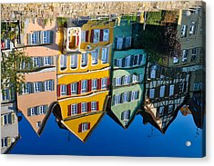 Reflection Of Colorful Houses In Neckar River Tuebingen Germany Acrylic Print by Matthias Hauser