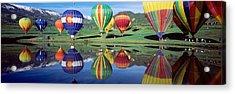 Reflection Of Hot Air Balloons On Acrylic Print