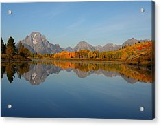Reflection Of Mount Moran In Autumn Acrylic Print by Jetson Nguyen