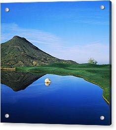 Reflection Of Mountain On Water, Desert Acrylic Print